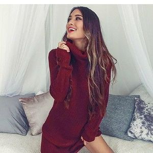 Dresses & Skirts - Wine Red Wool Blend Sweater Dress